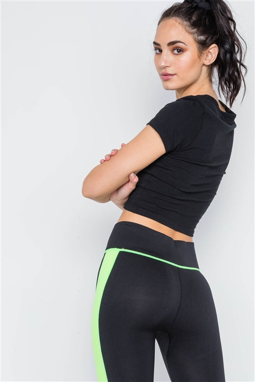 Contrast Stripe Active Sporty Leggings-Black/Green