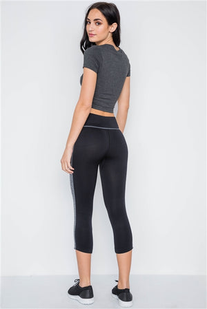 Contrast Stripe Active Sporty Leggings- Black/Grey