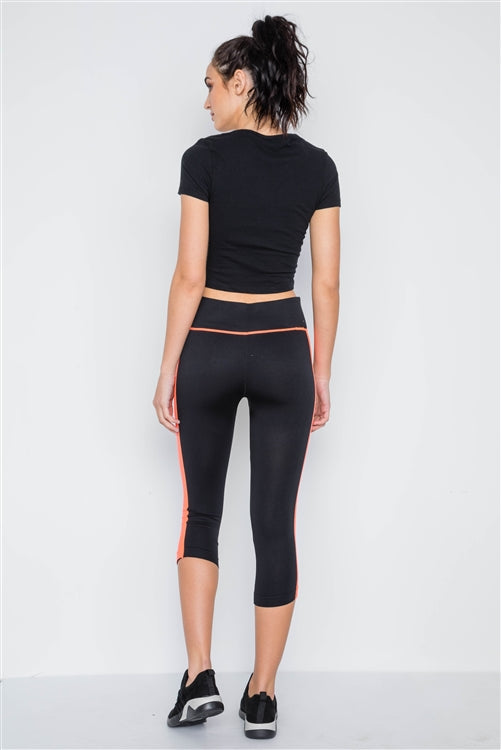 Contrast Stripe Active Sporty Leggings - Black/Orange