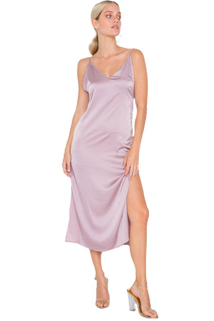 Satin V Neck Side Slit Midi Dress