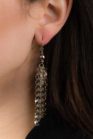 Multi Gold and Silver Metallic Coin Fringe Dangle Earrings