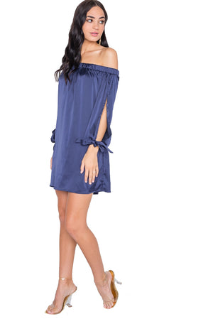 Satin Open Sleeve Mini Dress