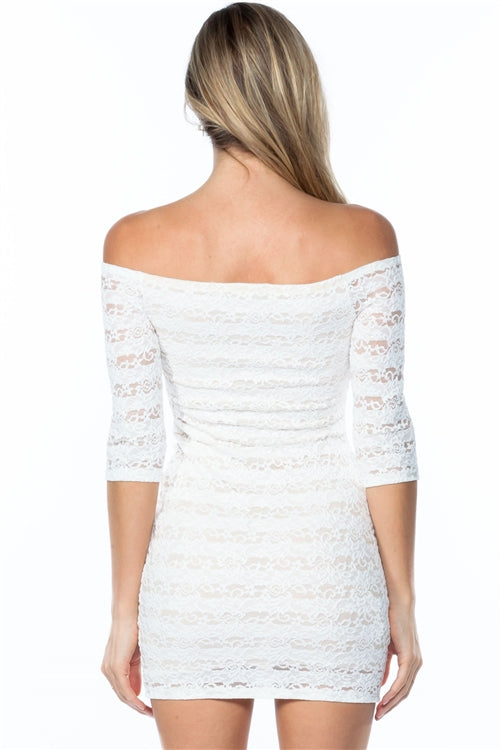 Off The Shoulder Floral Embroidered Lace Bodycon Mini Dress