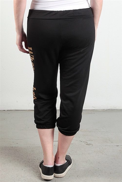 WHATSUPBRO Black Graphic 3/4 Plus Size Sweatpants