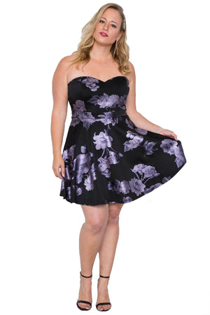 Plus Size Fit and Flare Floral Mini Dress