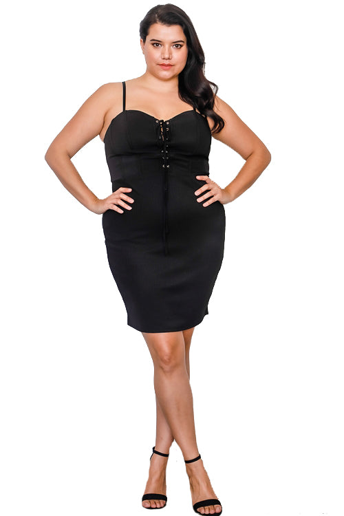 Plus Size Front Lace Up Mini Dress