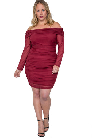 Plus Size Off The Shoulder Mash Mini Dress