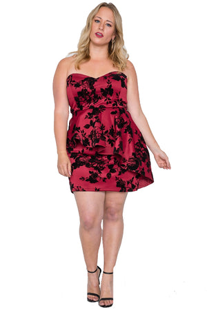 Plus Size Strapless Floral Sweetheart Mini Dress