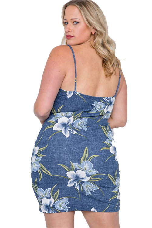 Plus Size Denim Look Blue Floral Bodycon Mini Dress