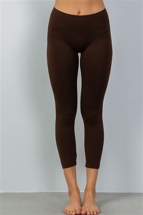 Solid Brown Elasticised Waist Leggings
