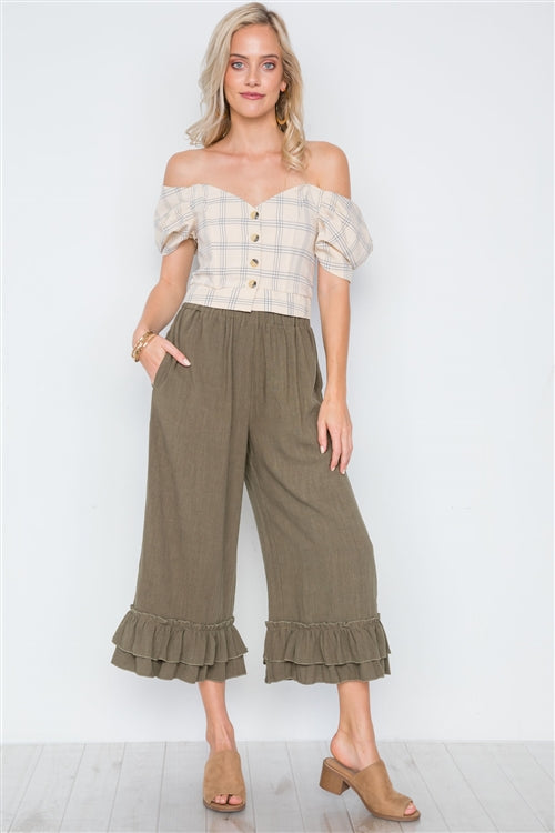 High Waist Ruffle Hem Wide Leg Boho Pants