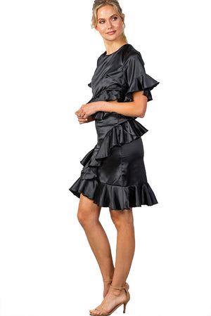 Satin Bow Tie Back Cut-out Ruffle Midi Dress