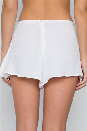 Mid Rise Light Crinkled Self Tie Shorts