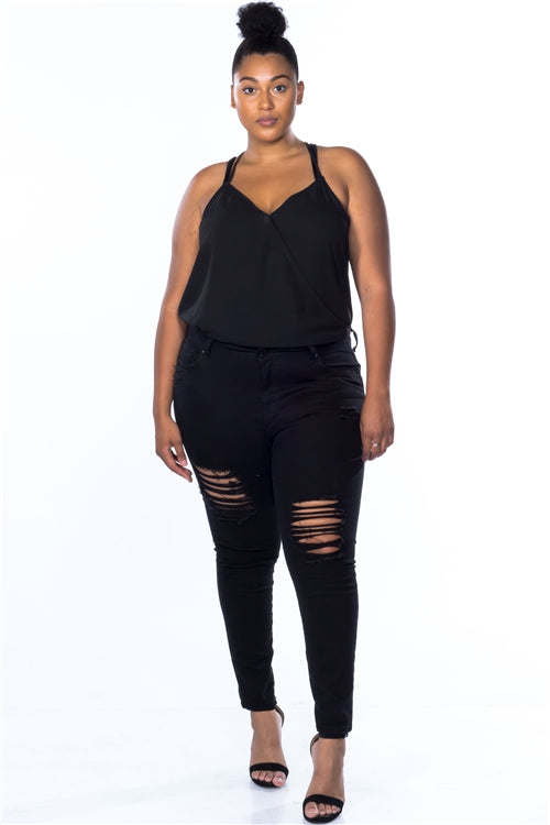 Plus Size Cotton Spandex Black Distressed Skinny Jeans