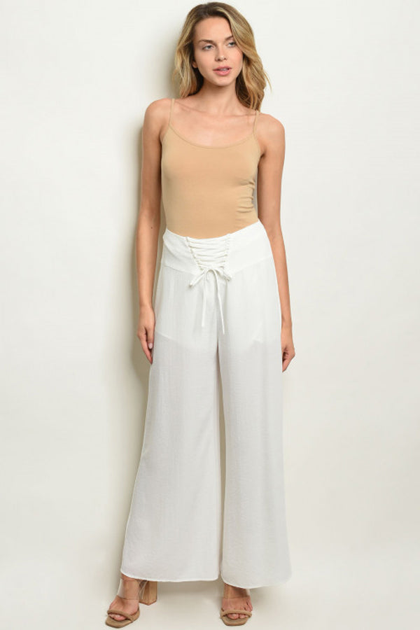Fitted Waist Wide Leg Pants