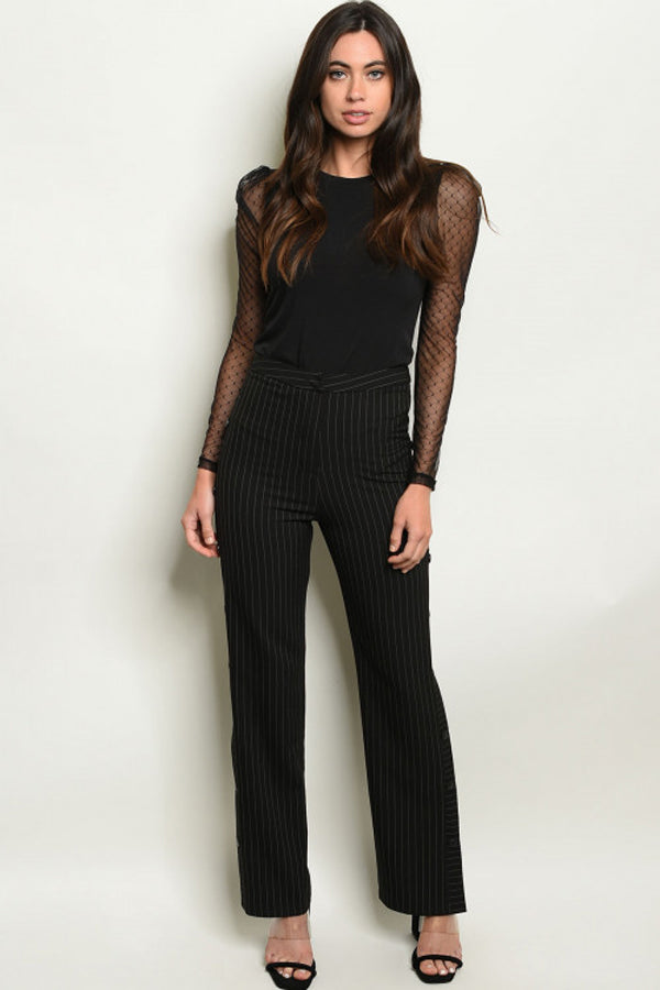 Fitted Waist Pin Stripe Pants