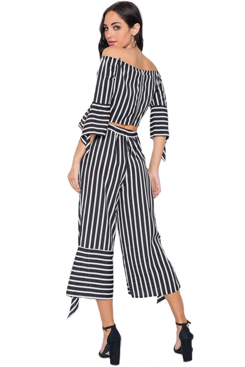 White Black Stripe Flounce 2 Piece Top Pants Set