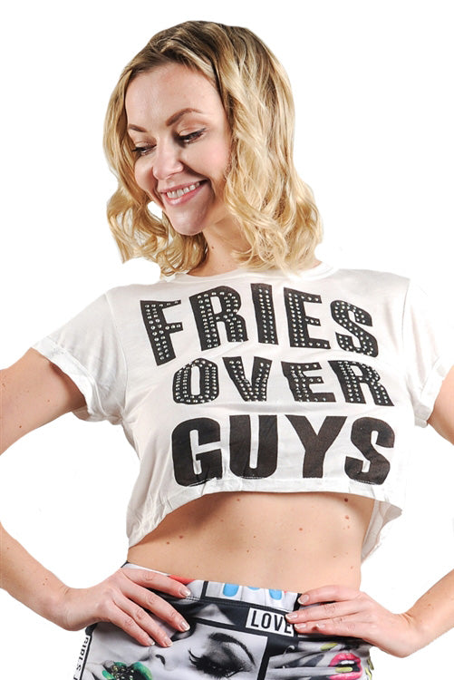 FRIES OVER GUYS Graphic Studs Detail Crop - Black/White/Red