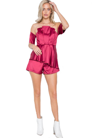 Wine Layered Off The Shoulder Evening Romper