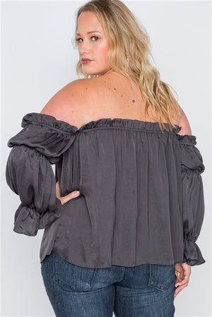 Plus Size Charcoal Ruffled Satin Evening Top