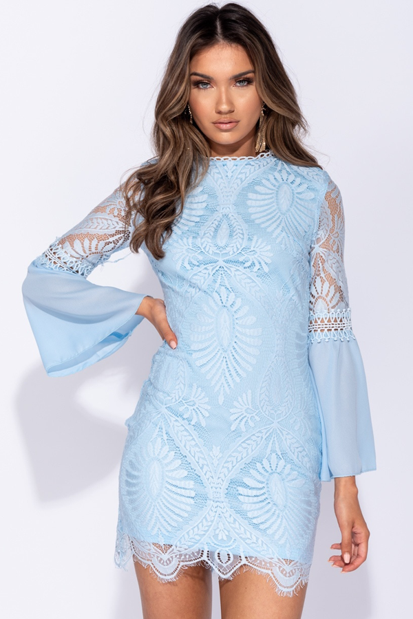 Eyelash Trim Lace Flare Sleeve Mini Dress