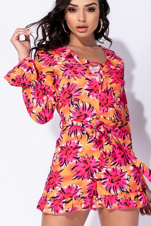 Floral Frill Detail Long Sleeve Playsuit