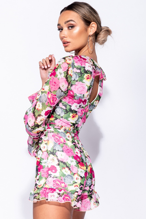 Frill Hem Tie Detail Floral Long Sleeve Playsuit