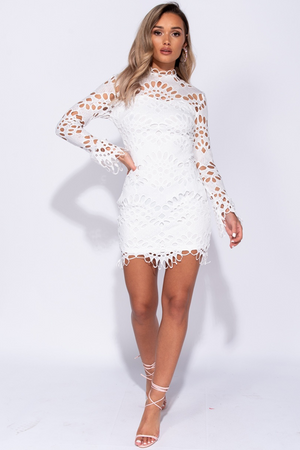 Lace High Neck Long Sleeve Bodycon Dress