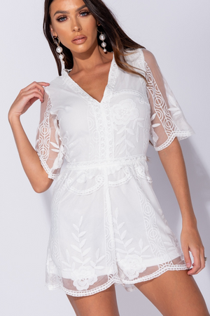 Lace Plunge Neck Short Sleeve Playsuit