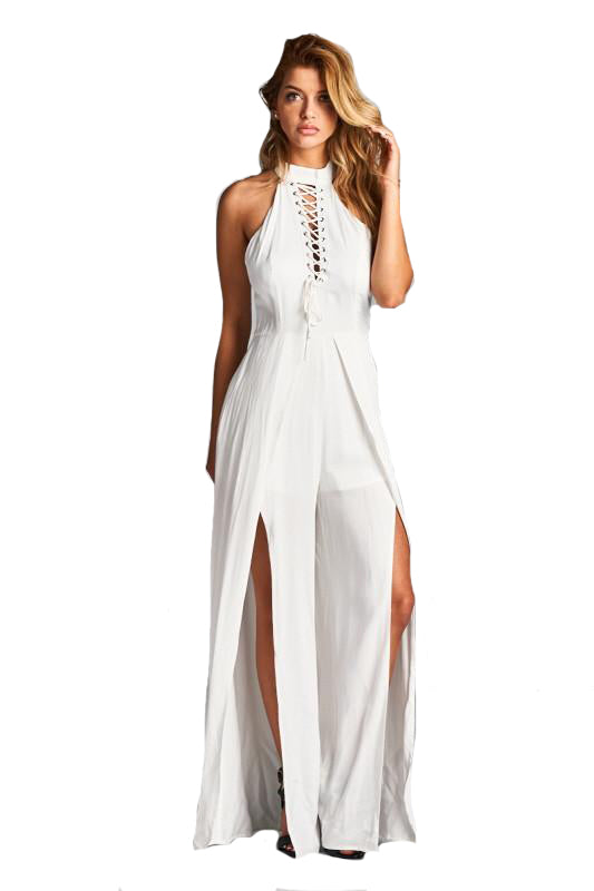 Off White Lace Up Slit Leg Romper