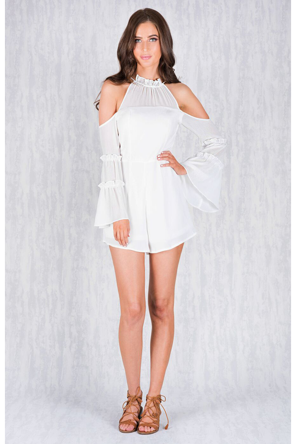 Textured Flare Sleeve Fitted Playsuit