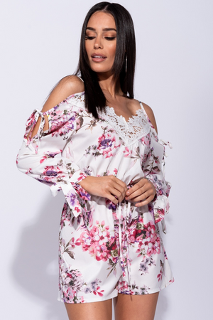 Floral Lace Trim Tie Detail Cold Shoulder Playsuit