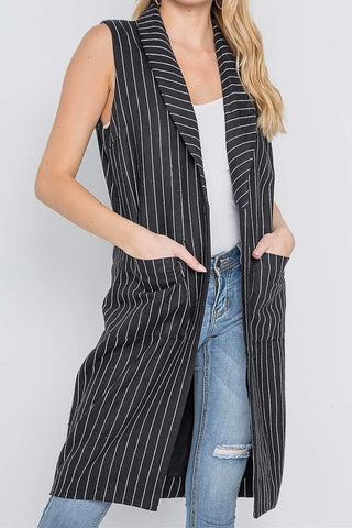 Girls Wear Pin Stripes Long Jacket Vest