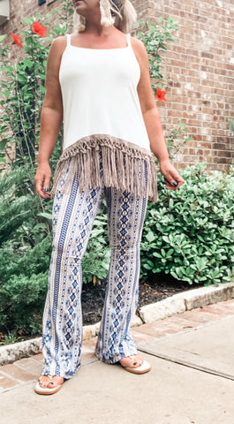 Blue Dreams Printed Flares