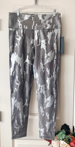 Sleek Silver Camo Foil High Wasted Leggings Plus