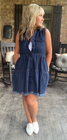 Babydoll Denim Dress Dark Wash