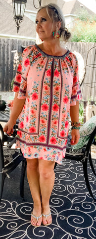 Floral Fabulous Dress in Barbie Pink