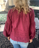Cranberry Eyelet Blouse
