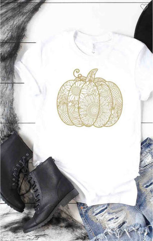 Falling For Boho Pumpkin T in White