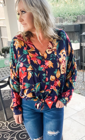 Dalia Blouse in Navy