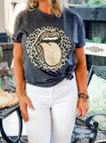 Metallic Leopard Stones Mouth T