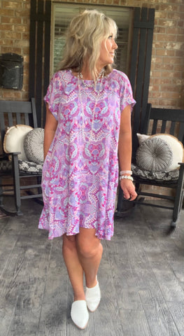 Pretty in Plum Paisley Dress