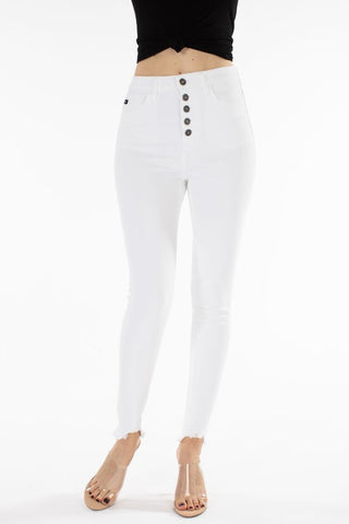 High Rise Button White Denim Jeans