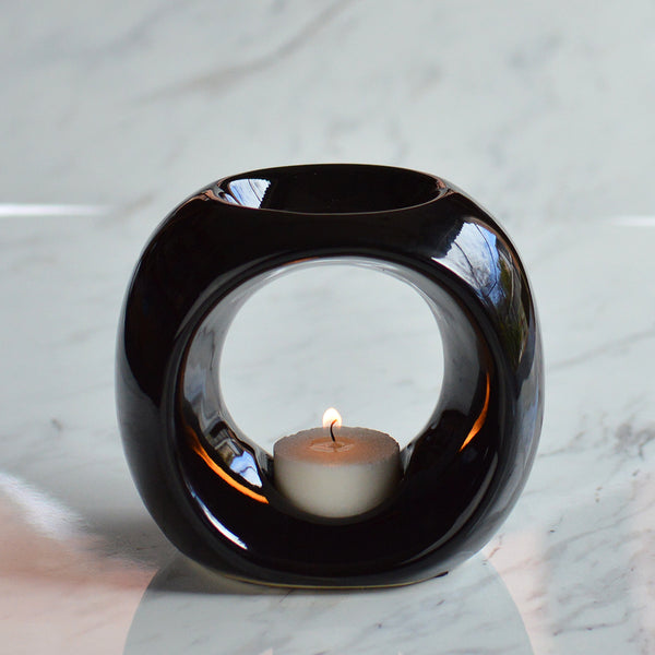 Oil Burner in Black with Melts and Tea Lights