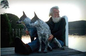 Award-winning author Bruce Pascoe and his beloved dogs