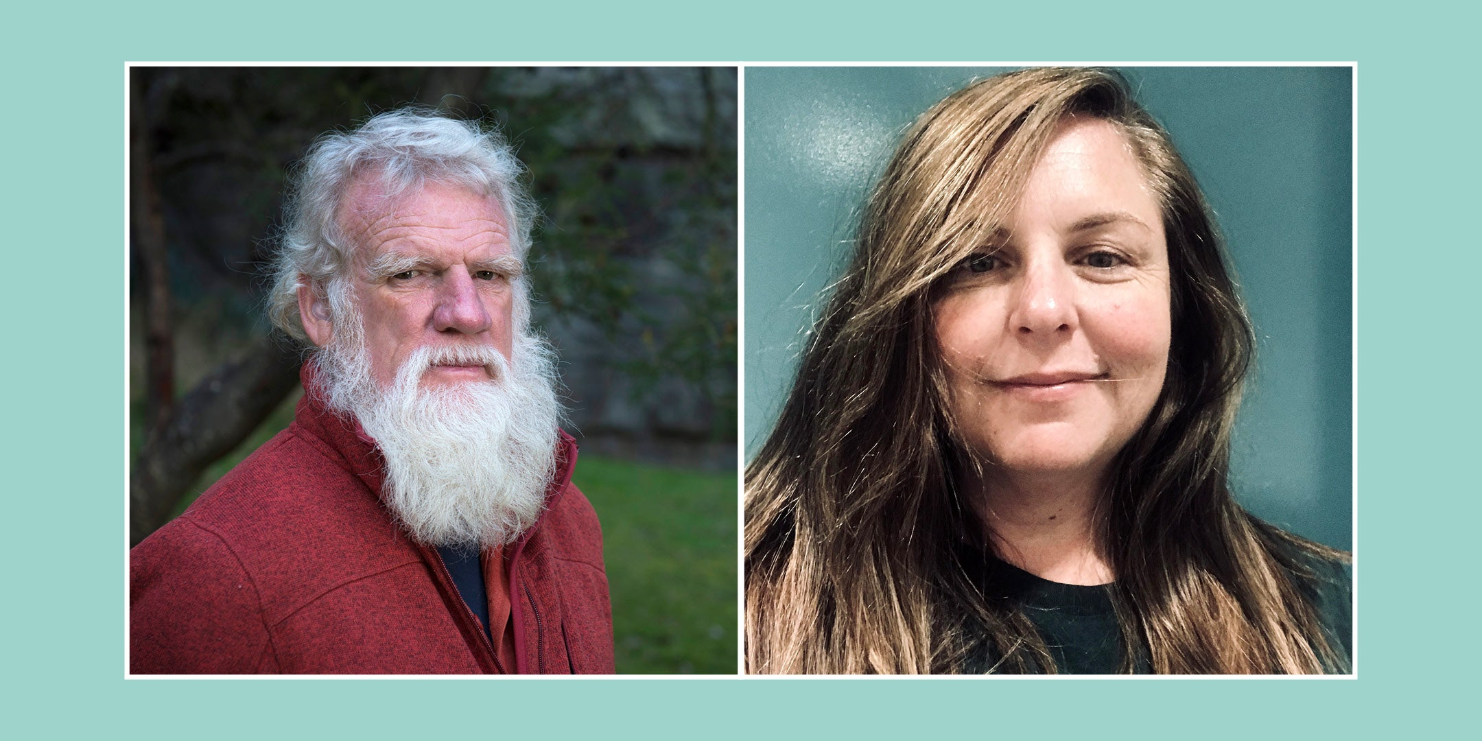 authors Bruce Pascoe and Jasmine Seymour headshots. Bruce wears a red jumper and Jasmine is smiling.
