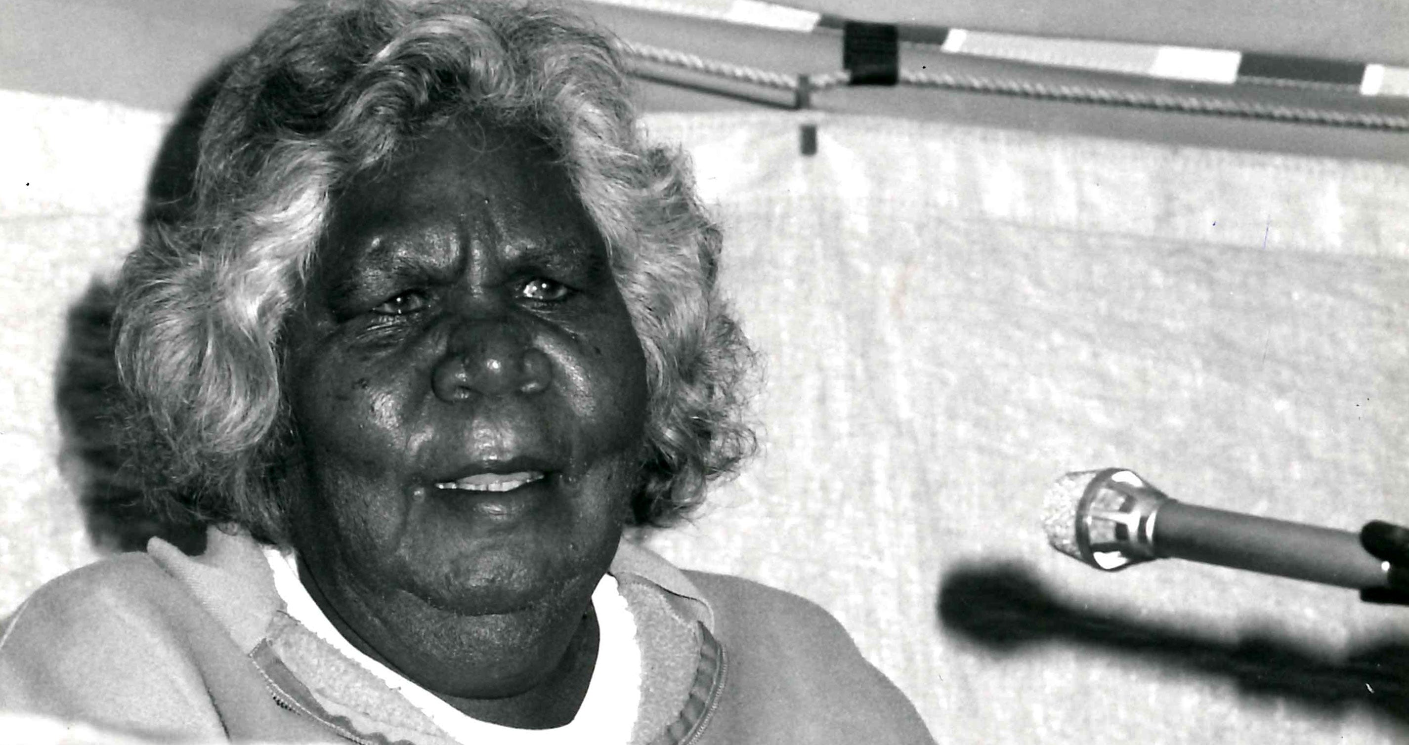 The late Daisy Utemorrah at the launch of Do Not Go Around the Edges at the Perth Writers Festival, 1990*