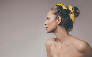 Leather bow - Yellow