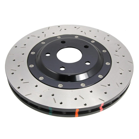 DBA 2004 STi 10 Stud Hole Front Drilled & Slotted 5000 Series 2 Piece Rotor Assembled w/ Black Hat