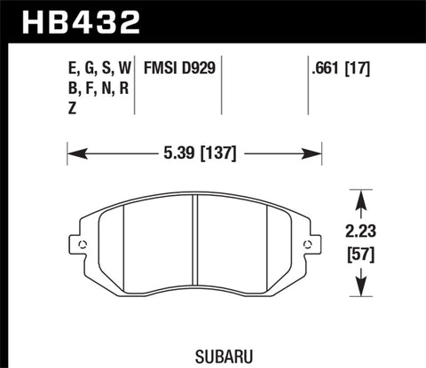 Hawk 03-05 Subaru WRX / 08-11 WRX  Blue 9012 Race Front Brake Pads